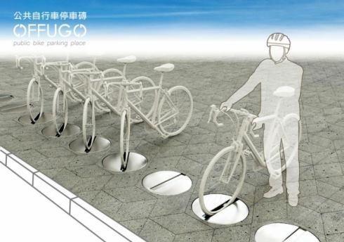 การใช้งานเพียงวางล้อหน้าลงบนที่จอดจักรยานแบบอิฐปูถนน